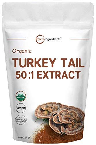 Maximum Strength Organic Turkey Tail Mushroom 50:1 Extract Powder, 8 Ounce (227g)