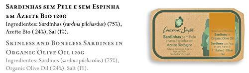 Conservas Santos - Sardinas en aceite de oliva Biológico sin piel y sin hueso - Producto gourmet de Portugal - Paquete de 5 x 120 gr