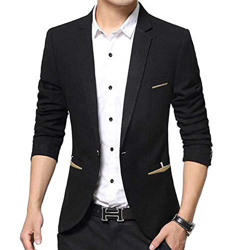 Men's Casual 1 Button Slim Fit Blazer Suit Jacket (619 Black, M)