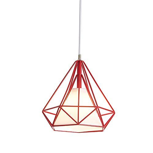 Lámpara de techo industrial retro de hierro con forma de diamante, pantalla de 25 cm