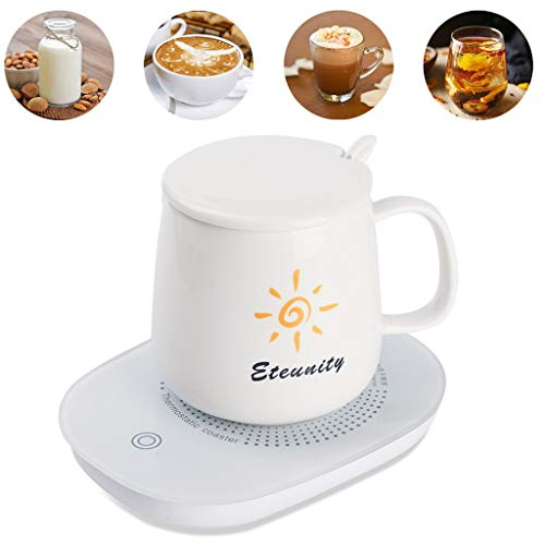Smart 55 Degree Thermostat Coffee Mug Warmer Set with 450ML Automatic Thermos Cup USB Heating Coaster 110V 16W with Automatic Shutdown Function the Best Gift for Home Office Desk and Coffee Lovers