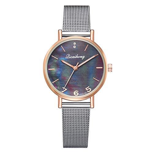 TYYW Reloj De Cuarzo con Cinturón De Malla De Acero A La Moda Reloj Femenino Informal con Espejo Multicolor (Negro)
