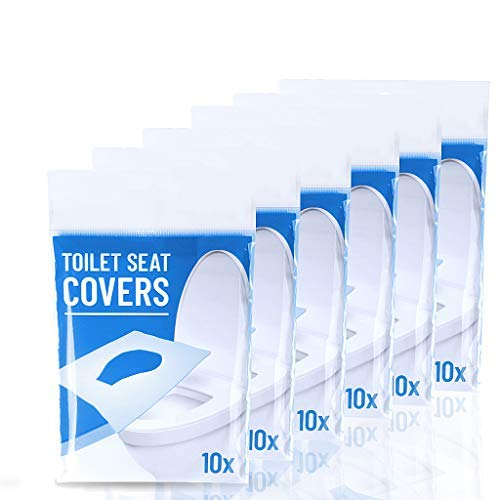 Disposable Toilet Seat Covers 6 Packs Set of Total 60 Sheets Portable Potty Seat Covers Flushable Toilet Seat Covers for Kids, Toddlers and Adults Ideal for Travel Use