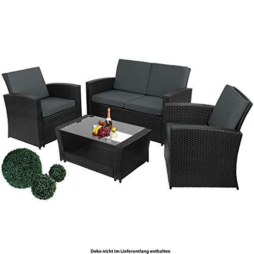 Montafox 12-teilige Polyrattan Sitzgruppe 4 Personen 5 cm Sitzpolster Tisch Balkonmöbel Set Sitzgarnitur Schwarz, Farbe:Titan-Schwarz/Nachtschwärmergrau - 2