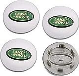 MENGBAO 4 PCS Cubierta del Centro del Coche, Placa de Aluminio Cubiertas de Ajuste de Polvo Emblemas 3D Gorras de aleación Centro de Ruedas para Land Rover 63 mm,White1