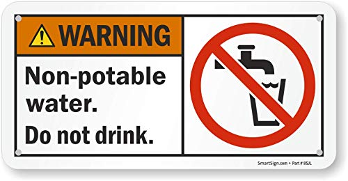 SmartSign - S-9885-AL-05x10 'Warning - Non-Potable Water, Do Not Drink' Sign   5' x 10' Aluminum Black/Orange/Red/Yellow on White