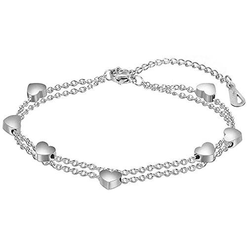 chaosong shop Pulsera de corazón de acero inoxidable bohemio, para mujer, para boda, fiesta, regalo