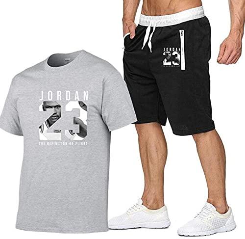 # 23 Jordan Top Shorts Sportswear Basketball Suit, 2 Camisetas De Manga Corta De Verano para Hombres, B, XL, B - S