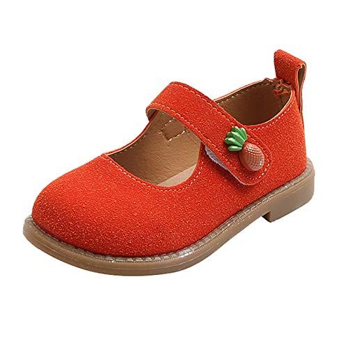 Zapatos de bebé para niña, bonitos y festivos, sandalias de princesa, zapatos de piel suave, zapatos de aprendizaje para niños pequeños de 1 a 6 años de edad., naranja, 30