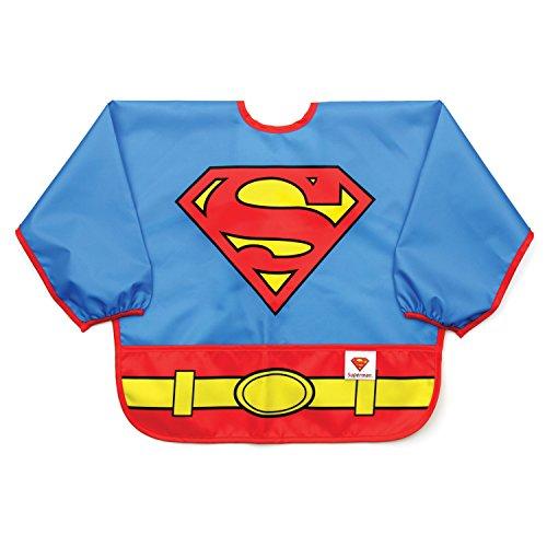 Bumkins DC Comics Superman Sleeved Bib / Baby Bib / Toddler Bib / Smock, Months, Waterproof, Washable, Stain and Odor Resistant, 6-24 Months