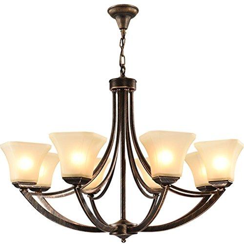 WYBW Novedosa lámpara de araña – Lámpara de techo América Country minimalista Atmosphere Idílico retro bronce forjado iluminación de cristal para salón / dormitorio / pasillo / Aislel