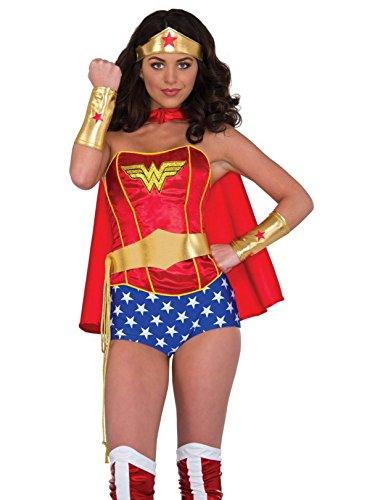 Rubie's Women's DC Comics Wonder Woman Accessory Kit Tiara Belt with Lasso Gauntlets, Multi, One Size