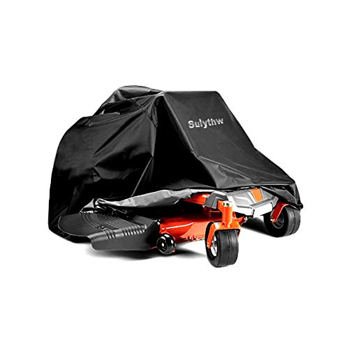 Sulythw Zero-Turn Lawn Mower Cover 80Lx62Wx55H Heavy Duty 420D Polyester Oxford Waterproof Storage for Riding ZTR Lawn Mower Tractor Universal Fit Decks up to 60' with Drawstring & Storage Bag