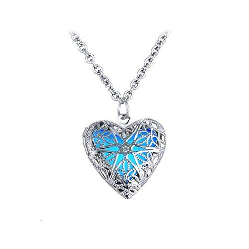 ShinyJewelry Glow in The Dark Locket Heart Pendant Necklace (Blue)