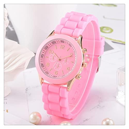 SKTE Reloj Deportivo De Silicona con Banda De Gelatina, Reloj De Pulsera De Cuarzo para Hombres Y Mujeres, Relojes De Vestir para Mujer, Relojes De Pulsera De Cuarzo De Regalo (Color : Pink)
