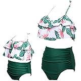 ChayChax Femmes Filles Maillot de Bain 2 Pièces Mère-Fille Mignon Volants Bikini Set Parent-Enfant Taille Haute Maillots de...