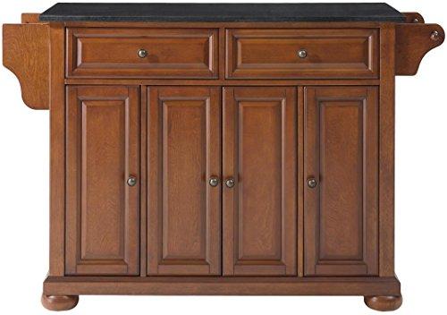 Crosley Furniture Alexandria Full Size Kitchen Island with Solid Black Granite Top, Cherry