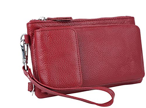 Umhängetasche Geldbörse Damen YALUXE Locking RFID Wallet Leder Crossbody mit Tasche Rot