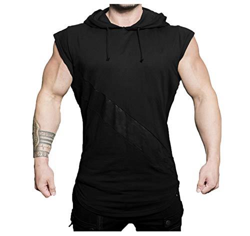 Ärmelloses Hoodie-T-Shirt mit Kapuze für Herren für Freizeitreisen, Fitness (schwarz, XL)