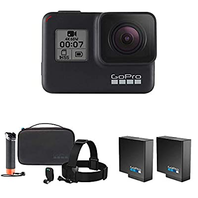 GoPro Hero7 Black Camera Bundle with Extra Battery (2 Batteries Total) and Adventure Kit (Floating Handle, Casey, Headstrap, Quickclip)