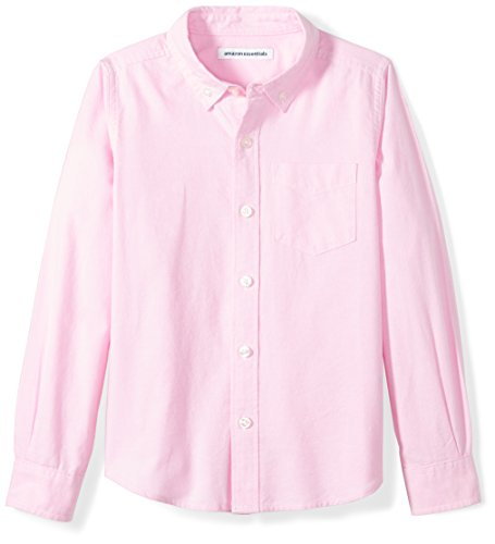 Amazon Essentials Kids Boys Uniform Long-Sleeve Woven Oxford Button-Down Shirts, Pink, Large