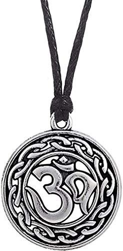 Ahuyongqing Co.,ltd Collar India Yoga símbolo Collares con dijes religioso Vintage Collar Amuleto Colgante Collares Mujeres Collar joyería Regalo