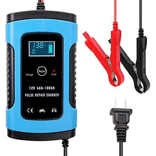 Lecimo Cargador de batería para automóvil, Cargador de batería automático de 12 V con Carga de 3 etapas, Cargador de Refuerzo de Banco de energía de Arranque automático portátil, Azul