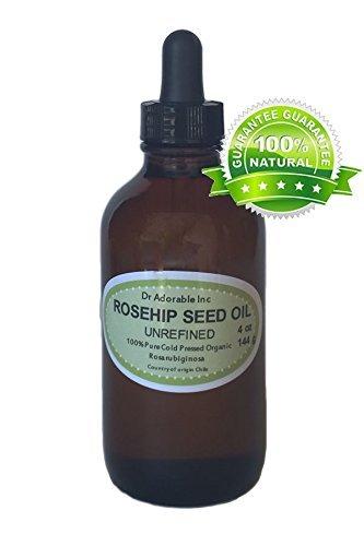 Rosehip Unrefined Oil Skin care Skin rejuvenation Pigment reduction Moisturizer 4 oz Amber Glass Bottle with Glass Dropper