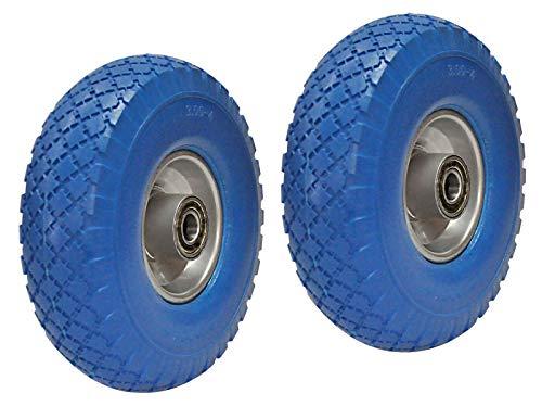 2 Stück PU-Räder 260 mm für Achse 20 mm Schwarzes mit Stahl Kugellager Sackkarrenrad Bollerwagen-rad Vollgummi-Sackkarrenräder 100% pannensicher