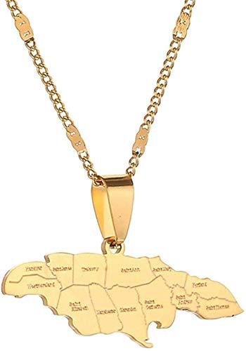 BACKZY MXJP Collar Collares Pendientes De Mapa De Jamaica De Moda De Acero Inoxidable Joyería De Encanto De Mapa De Jamaica Collar