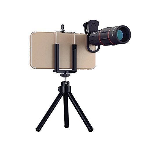 Abedoe 18x25 Monocular Telescope, 1000m Zoom Phone Camera Lens High Power Prism with Tripod Clip for Game Concerts Bird Watching Hunting Camping Travelling Wildlife Secenery,Universal for All Phones