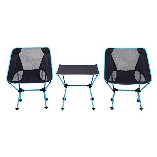 Unknow Mesa de Picnic al Aire Libre Ajustable de Aluminio Plegable portátil y Juego de 2 sillas, con Bolsa de Transporte, Resistente al Desgaste Resistente a los arañazos, para Picnic, Viaje por ca