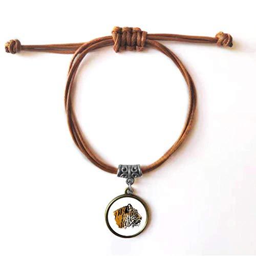 DIYthinker Pulseira de couro com corda de couro do rei selvagem Close-up da cabeça de tigre joia marrom presente