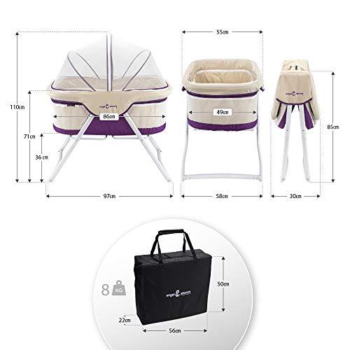 3-in-1 Baby Babybett Beistellbett Reisebett inkl. Moskitohaube, Matratze und Tasche – alle Farben (Violett) - 7