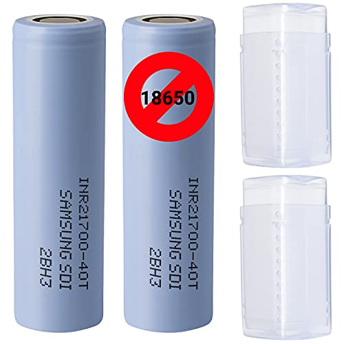 2 (Samsung) 40T 21700 4000 mAh Akkus INR für E-Zigarette Batterien Akku Dampfen Akkus für dampfer E-Zigarette + Akkubox