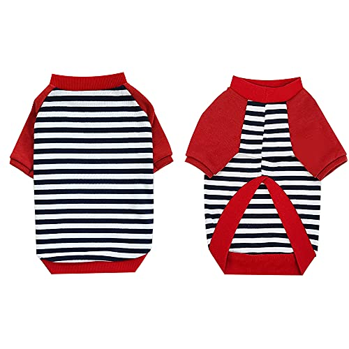 YOUTHDOG Red Striped Dog Shirt for Pet Clohtes Puppy T-Shirt Dog Sweaters for Small Dog Clothes Poodle Beagle French Bulldog Dachshund Boy and Girl Dog Outfit (Large)