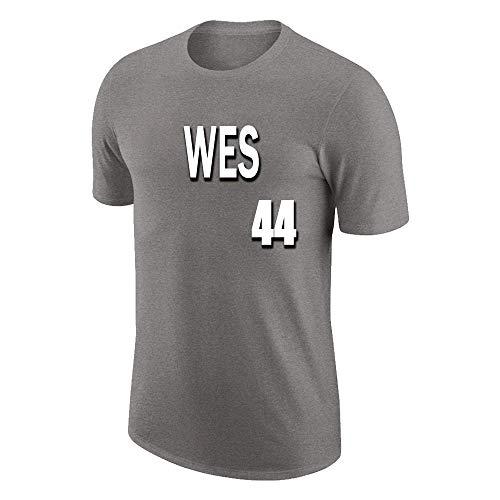 W&F Camiseta de algodón con Cuello Redondo para Hombre Jerry West # 44 Mangas Cortas Sueltas Top Deportivo de Verano S-XXXL (Color : Gray, Size : XXX-Large)