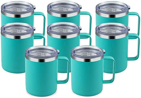 MANYHY 12oz Stainless Steel Coffee Mug with Handle and Sliding Lid Insulated Travel Cup 8 Pack product image