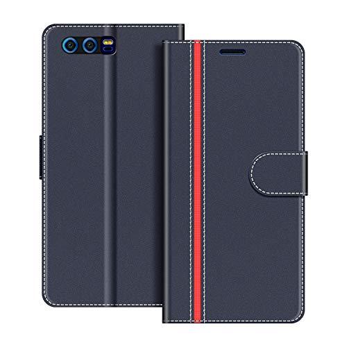 COODIO Handyhülle für Honor 9 Handy Hülle, Honor 9 Hülle Leder Handytasche für Huawei Honor 9 Klapphülle Tasche, Dunkel Blau/Rot