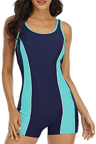 Halcurt Bañador de una pieza para mujer, con control de abdomen, bañador deportivo, azul marino/turquesa., XL