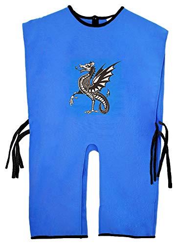 Das Kostümland Ritter Tunika für Kinder mit Wappen Drache Blau Silber