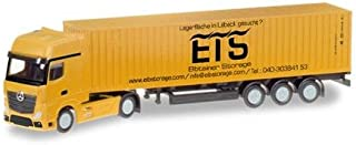 Herpa 66778 Mercedes-Benz Actros Gigaspace LH Container Trailer Elbtainer Storage, Coloured
