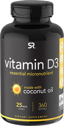 Vitamin D3 (1000iu/25mcg) enhanced with Coconut Oil for Better Absorption ~ Bone, Joint and Immune system support ~ Non-GMO & Gluten Free (360 Mini-Liquid Softgels)