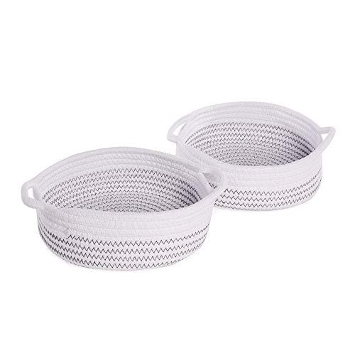 De almacenamiento de cuerda de algodón - Juego de 2 | Cesta de almacenamiento y organizador | Organizador de escritorio | Perfecto para artículos esenciales para el baño | M&W (blanco con hilo negro)