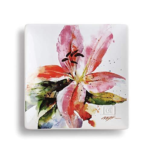 Dean Crouser Stargazer Lily Watercolor Pink 7 x 7 Ceramic Stoneware Decorative Snack Plate