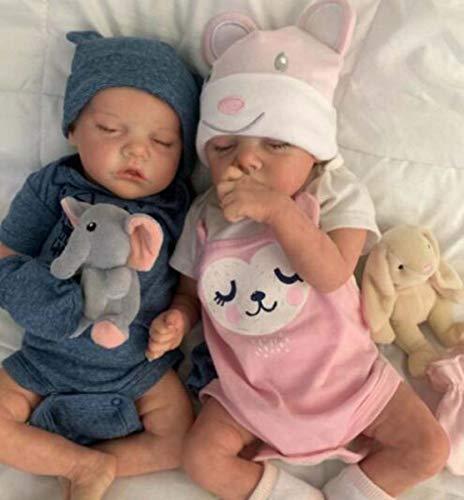 """YHX Reborn Baby Gemelli Bambole, 22""""Reborn Toddler Doll Morbido Vinile Silicone Vita Reale Come Le Bambole Appena Nate, Bambini Set Regalo per Ragazze dai 3 Anni in su"""