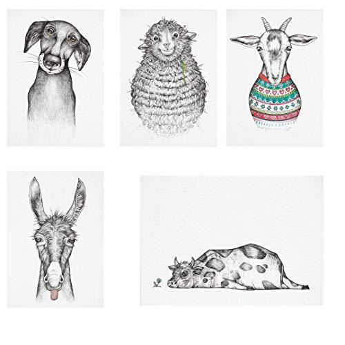 Ligarti Postkarten Set | 5 nachhaltige Grußkarten | Geburtstagskarte | Bambus Papier (Bauernhof)