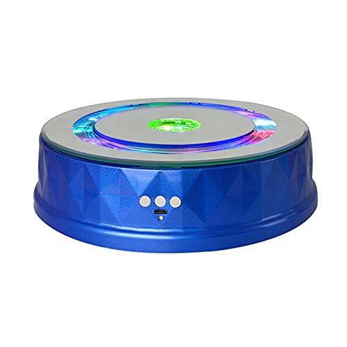 JRPT LED Plataforma Rotatoria,USB Colores Base Giratoria Eléctrica para Adornos Joyas/azul / 20cm Load 8kg