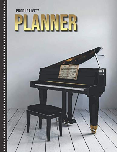 Productivity Planner: Black Baby Grand Piano Photo / Undated Weekly Organizer / 52-Week Life Journal With To Do List - Habit and Goal Trackers - Personal Calendar / Large Time Management Agenda Gift