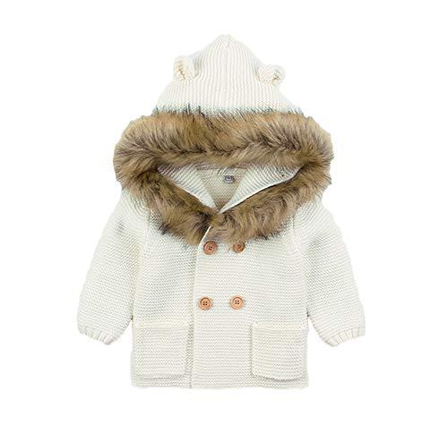 Bebé Tejida suéter Abrigo Orejas Calientes con Capucha Cardigan Tops Chaqueta Winter Boys Niñas Outwear Rosa 0-24 Meses (A-Blanco, 18-24 Meses)